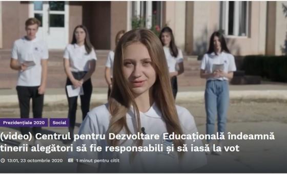 """Spot video de motivare a tinerilor să participe la vot  """"Fă-ți datoria civică și votează!"""""""