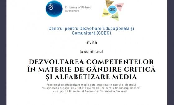 Oportunitate pentru tineri de participare la instruirea în domeniul alfabetizării media